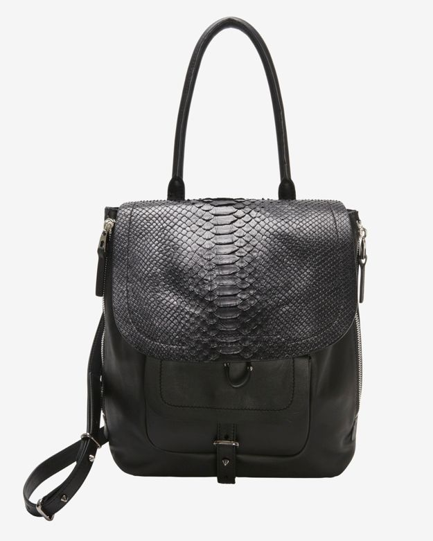 Sale alerts for Barbara Bui Barbara Bui EXCLUSIVE Python Flap Drawstring Should Bag: Black - Covvet