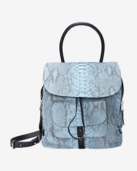 Barbara Bui EXCLUSIVE Python Front Drawstring Shoulder Bag: Blue