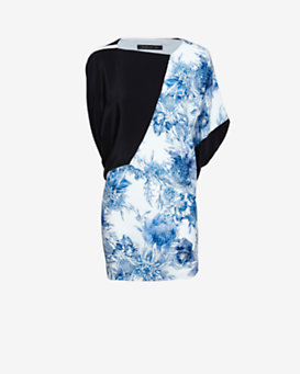 Barbara Bui Asymmetric Printed Dress: Blue