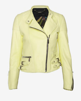 Barbara Bui Moto Leather Jacket: Lemon