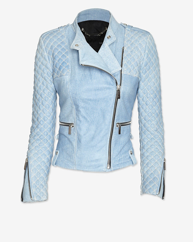 Barbara Bui Moto Leather Jacket: Blue Jean