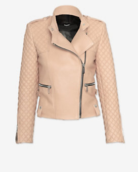 Barbara Bui EXCLUSIVE Moto Leather Jacket: Blush