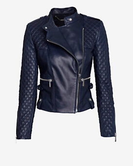 Barbara Bui EXCLUSIVE Moto Leather Jacket: Navy