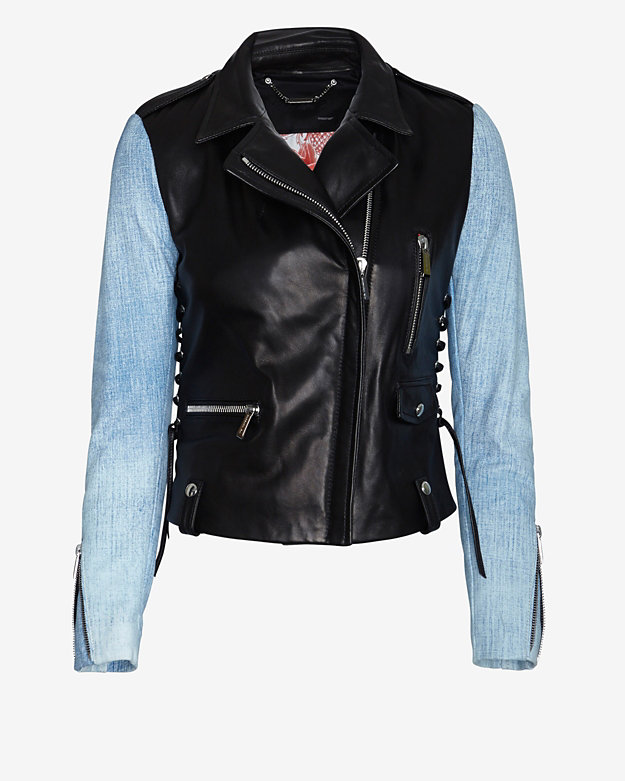 Barbara Bui Combo Lace-Up Moto Leather Jacket: Blue Jean