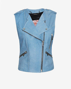 Barbara Bui Moto Leather Vest: Blue Jean