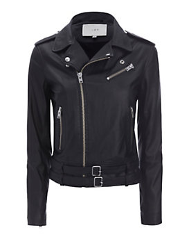IRO Galaxy Belted Hem Moto Leather Jacket: Black