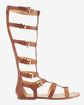 Belle by Sigerson Morrison Buckle Knee High Gladiator Flat Sandal