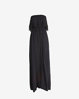 coolchange Strapless Embroidery Maxi Dress: Black