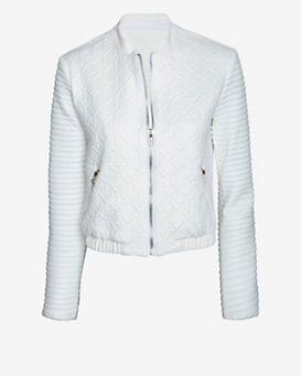 Georgie EXCLUSIVE Mixed Texture Bomber Jacket: White