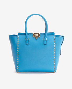 Valentino Double Handle Rockstud Tote: Peacock Blue