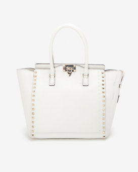 Valentino Double Handle Rockstud Tote: Ivory