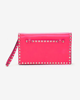 Valentino Rockstud Flap Clutch: Hot Pink