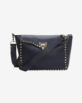 Valentino Rockstud Flap Front Crossbody: Midnight Blue