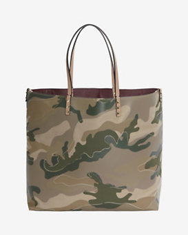 Valentino Canvas/Leather Camo Print Tote: Tan