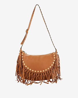 Valentino Medallion Fringe Hobo: Tan