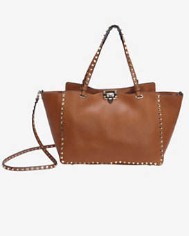 Valentino Rockstud Medium Textured Leather Clasp Tote: Camel