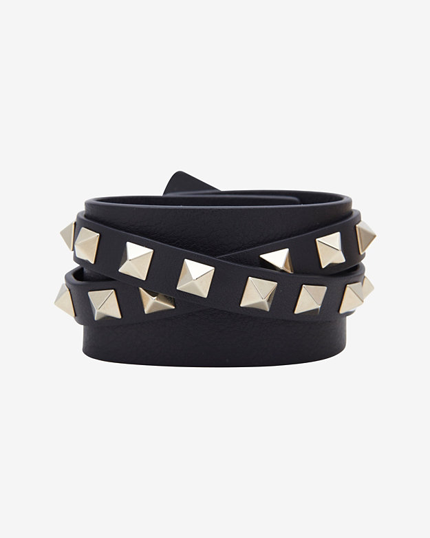 Valentino Studded Leather Wrap Bracelet: Black