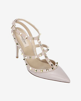 Valentino Rockstud Stiletto Slingback Pump: Powder