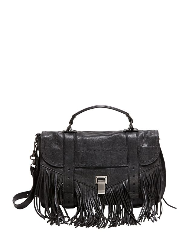 Proenza Schouler PS1 Medium Fringe Satchel: Black