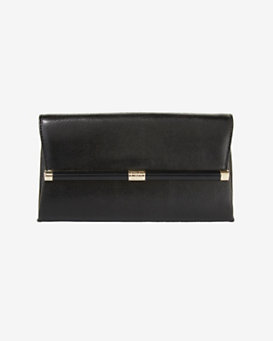 Diane von Furstenberg Lizard Embossed Envelope Clutch: Black