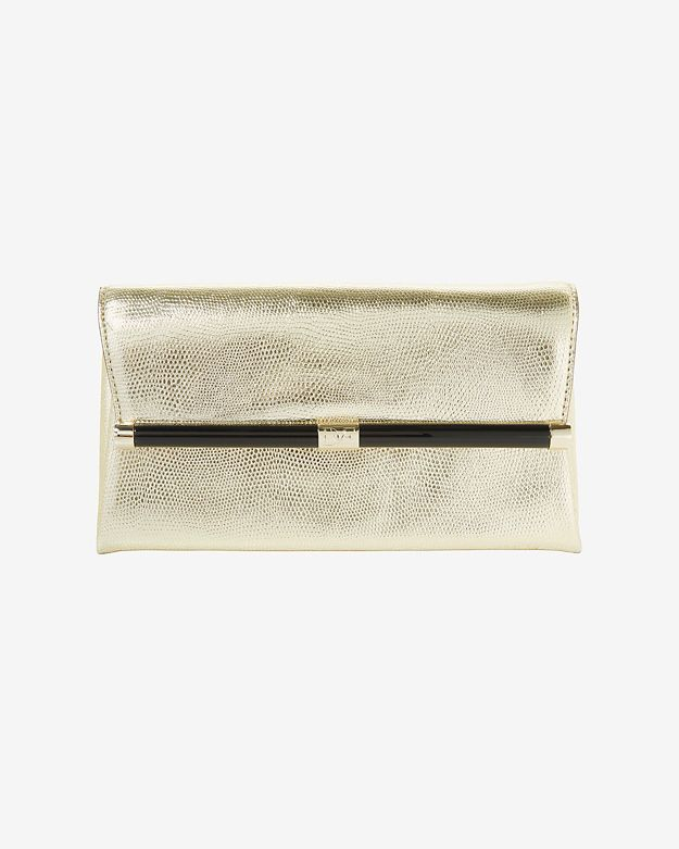 Diane von Furstenberg Lizard Embossed Envelope Clutch: Gold