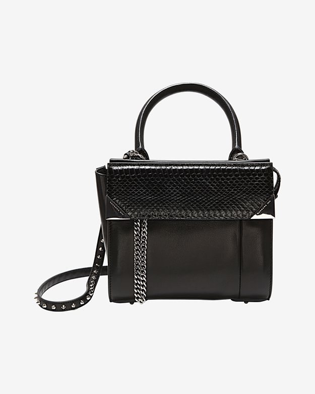 Barbara Bui Studded Strap Structured Leather Crossbody: Black