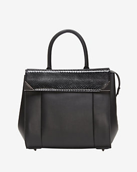 Barbara Bui Structured Leather Satchel: Black