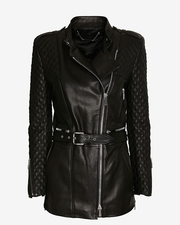 Barbara Bui Quilted Sleeve Leather Trench: Black