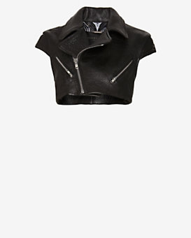 Barbara Bui Crop Leather Vest
