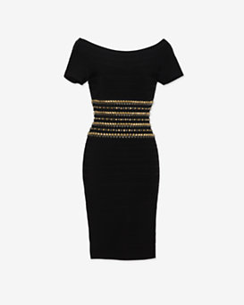 Herve Leger Studded Waistline Bandage Dress