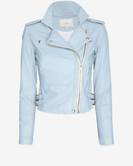 IRO EXCLUSIVE Hana Leather Jacket: Sky Blue