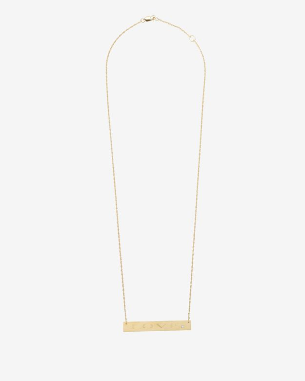 Jennifer Zeuner Diamond Detail Love Plate Necklace