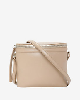 KARA Large Stowaway Leather Crossbody: Taupe