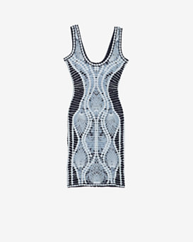 Herve Leger Jacquard Tank Dress: Blue