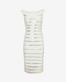 Herve Leger Sequin Bandage Stripe Knee Length Dress