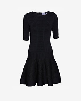 Herve Leger Lurex Short Sleeve Flare Dress: Black