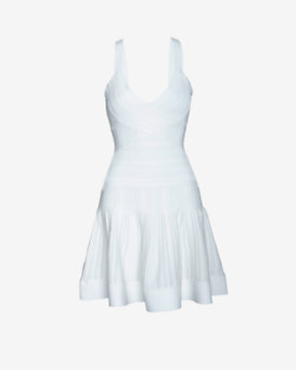 Herve Leger Lurex Flare Dress: White