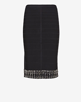 Herve Leger Bejeweled Hem Bandage Skirt: Black