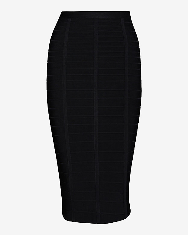 Herve Leger Bandage Pencil Skirt: Black