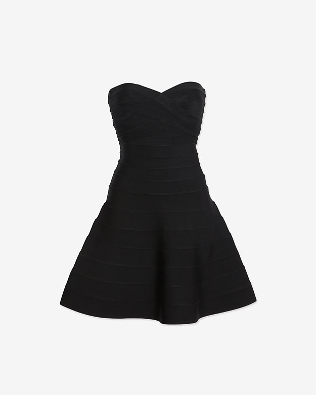 Herve Leger Strapless Bandage Flare Dress: Black