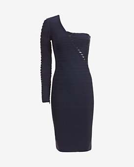 Herve Leger Single Sleeve Bandage Dress
