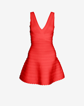 Herve Leger EXCLUSIVE Scalloped Bandage Tier Flare Dress: Red