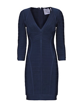 Herve Leger Bandage V Neck Long Sleeve Dress: Navy