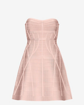 Herve Leger Strapless Flare Dress