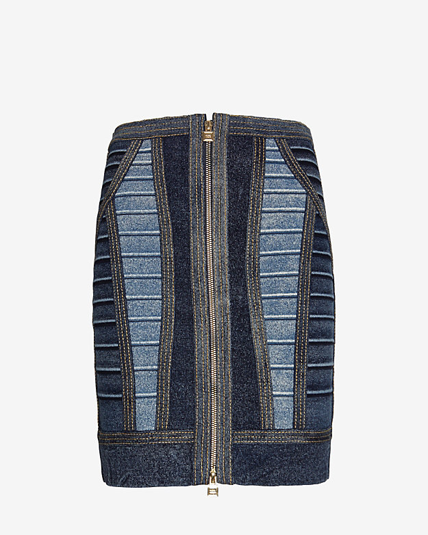Herve Leger Stretch Denim Banded Skirt
