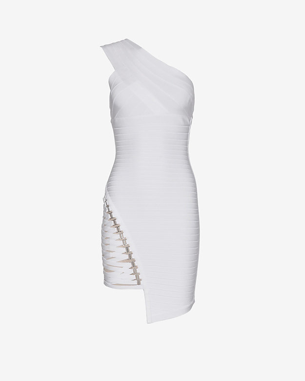 Herve Leger Asymmetric One Shoulder Bandage Dress