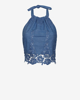 Miguelina EXCLUSIVE Crochet Chambray Handkerchief Top