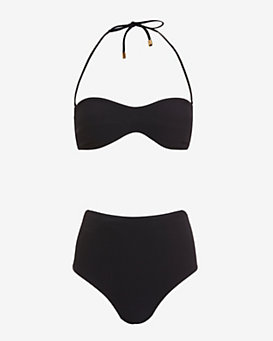 Ephemera Jacquard High-Waisted Bandeau Bikini