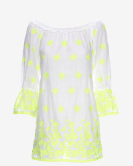Miguelina Josie Neon Embroidered Floral Dress
