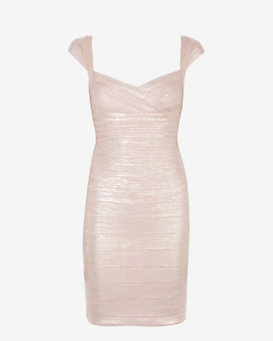 Herve Leger Rose Gold Foil Cap Sleeve Bandage Dress